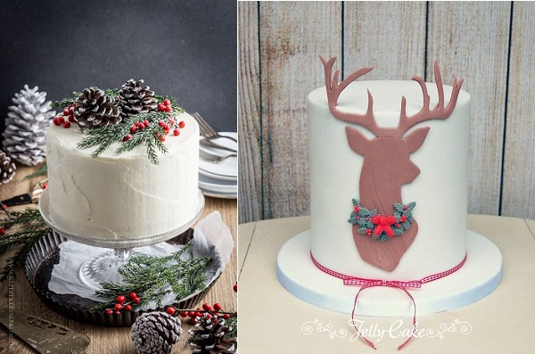 Rustic christmas cake with pinecones and foliage lef via Klitze Kleines blog  left, reinder cake by Jelly Cake right