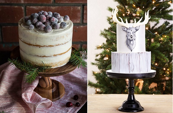 Sparkling cranberry christmas cake by Style Sweet left, stag's head cake by  Zoe Burmester via Cakes and Sugarcraft Magazine