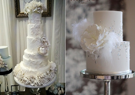 Vintage winter wedding cakes from Truffle Cake & Pastry left, Curtis and Co Cakes right