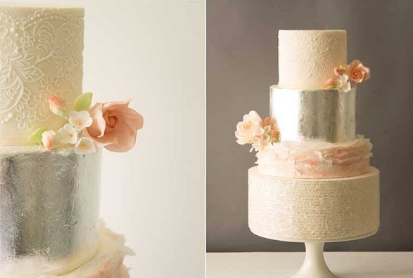 White sequins wedding cake with peach ruffles, blooms and lace by Abigail Bloom Cake Company
