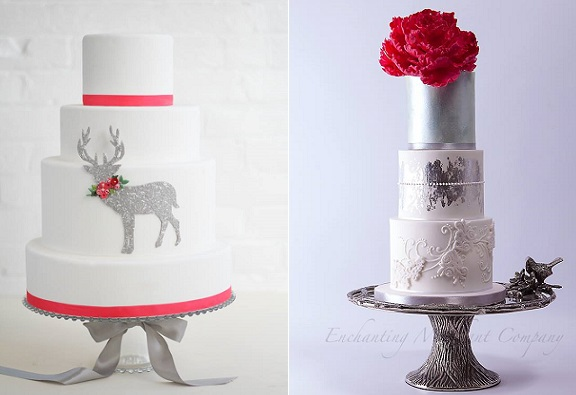 Winter red, white and silver wedding cakes by Erica O Brien left, Enchanting Merchant Co right