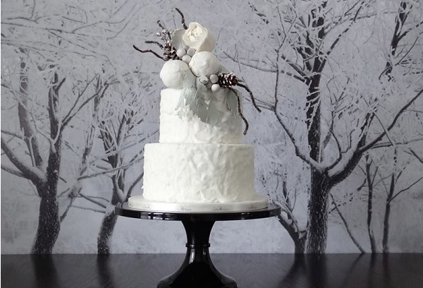 Winter wedding cake by Cake Heart Custom Cakes and Cupcakes