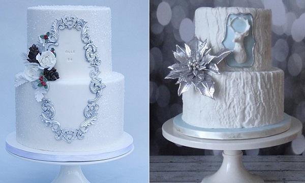 Winter wedding cakes by Sannas Tartor left, Cake Heart Custom Cakes right