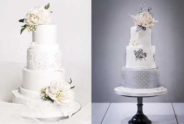 Winter wedding cakes by the Cake Studio left, The Frostery UK right