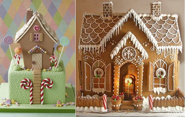 gingerbread house cake by Zoe Clark left, via Pinterest uncredited right