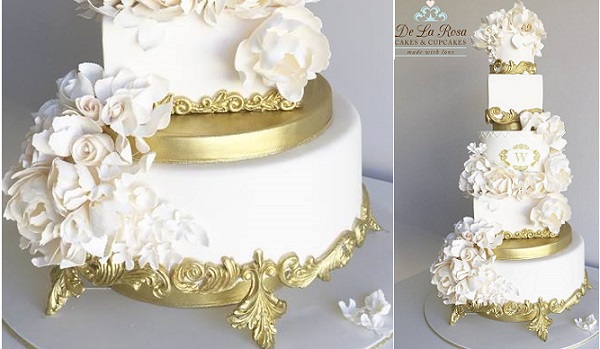 Edible cake stand with ornate gold detailing by De La Rosa Cupcakes