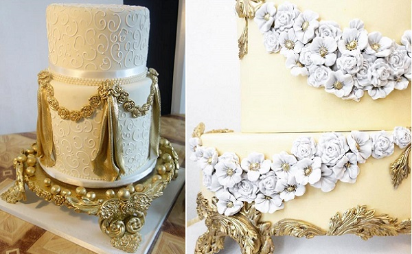 Faux cake stand in antique gold by Tosan Jemide at Kogsy Sugarcraft Centre left, by Cake Opera Co. right