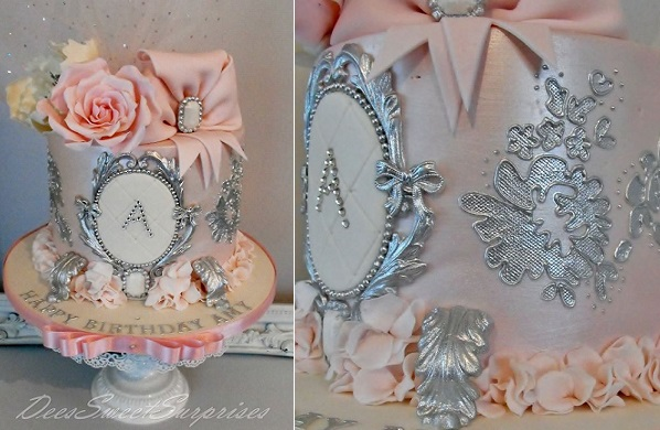 Silver edible cake stand with cake by Dee's Sweet Surprises