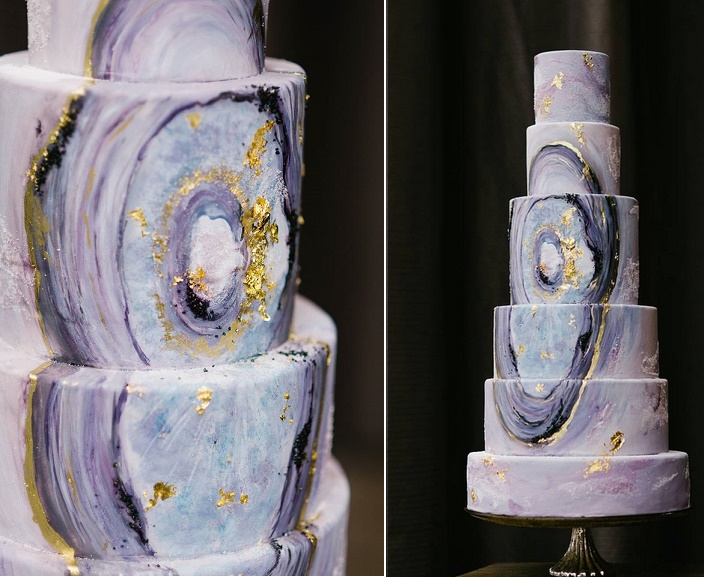 Agate wedding cake by Nadia and Co., Tara McMullen Photography
