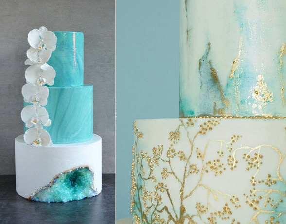 Aqua geode wedding cake by The Cake Project CH, marble and gold cake by Rosalind Miller