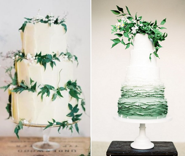 Foliage decorated wedding cakes by Green Lily Barkery,  Nicole Berrett Photography left, T Bakes right