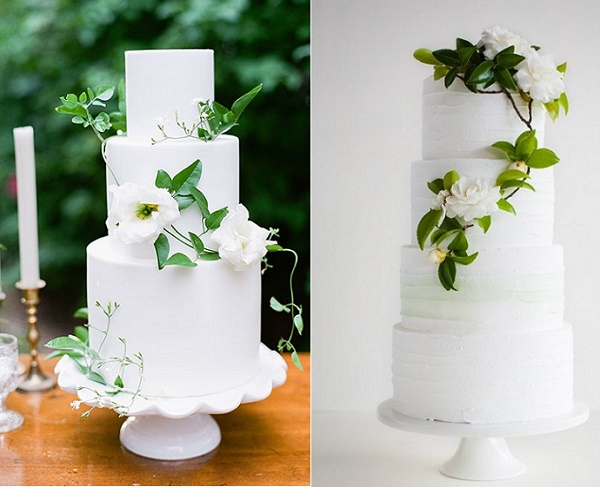 Foliage wedding cakes by Earth and Sugar, Gianny Campos left, Miss LadyBird Cakes, Samara Clifford right