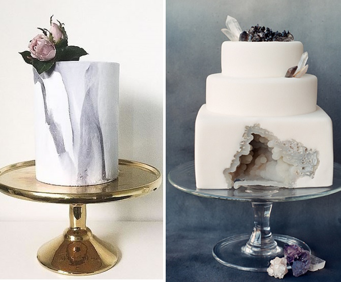 Geode wedding cake right by , Sainte G Cake Co right, photo by Corbin Gurkin, Chantilly and Coco left