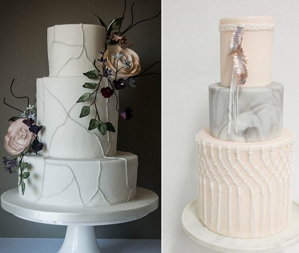 Geology inspired wedding cakes by Happy Hills left, Sweet and Saucy right