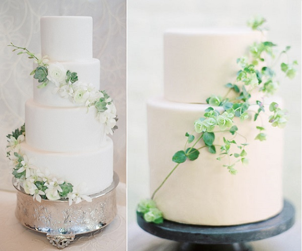 Green and white wedding cakes by D'Elissious, Kate Holstein Phot left, Windflower Cakes right Maria Lamb Phot