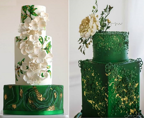 Green marble wedding cake by Eva Salazar left, right by The Frostery, James Jebson Photography