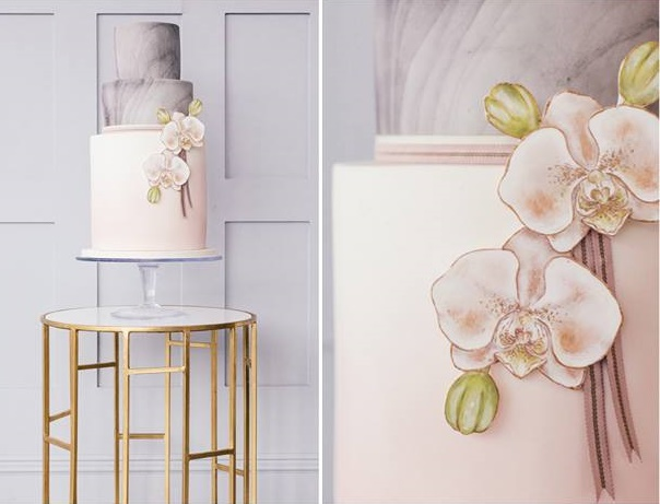 Marble wedding cake in grey and blush by Emily Hankins Cakes, A Thing Like That Photography