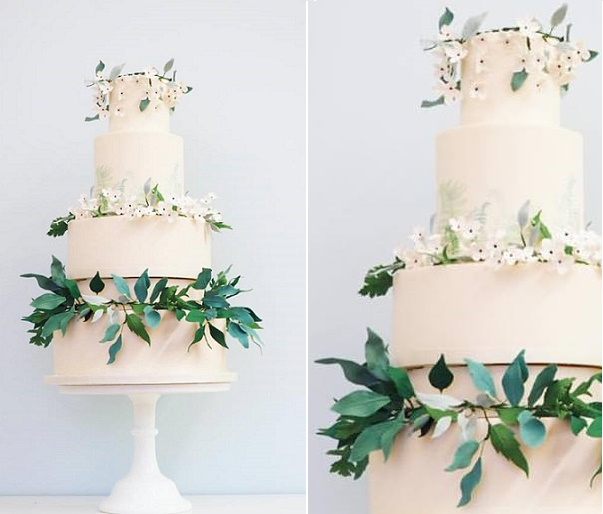 Gumpaste foliage wreath and white floral garlands by Rosalind Miller Cake Design