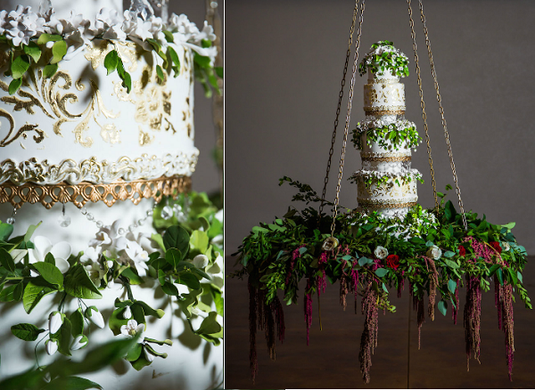 Hanging wedding cake with trailing greenery and amaranthus by The Cake Zone