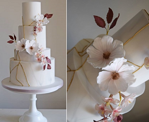 Kintsukuroi inspired wedding cake by Amelie's Kitchen