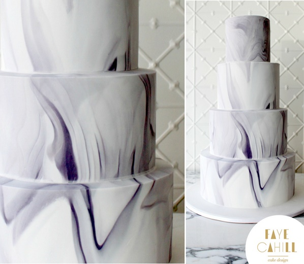 Marble effect wedding cake by Faye Cahill Cake Design