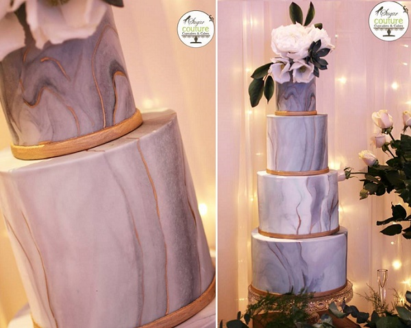 Marble wedding cake with gold seams by Sugar Couture Cupcakes and Cakes