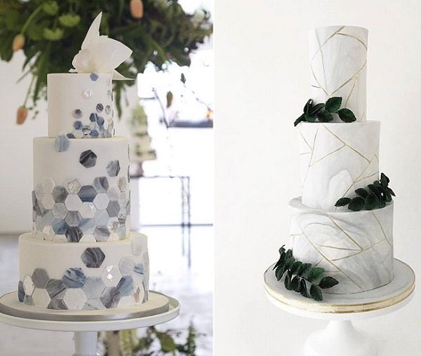 Marbled hexagons wedding cake by Happy Hills Cakes, Gillian McBain Ph left, Jenna Rae Cakes right