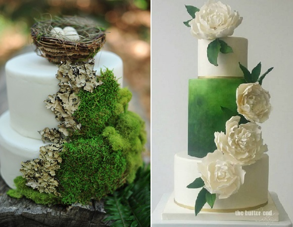 Moss covered wedding cake styled by Arina B Photography (left) and a striking green ombre wedding cake (right) by The Butter End Cakery