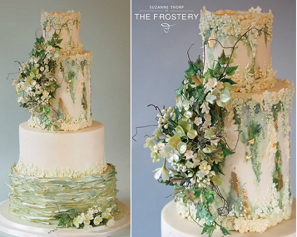 Sage green antiqued wedding cake with gumpaste greenery and gold tipped ruffles by The Frostery