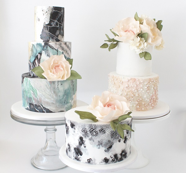Stone and marble effect cakes by  Faye Cahill Cake Design