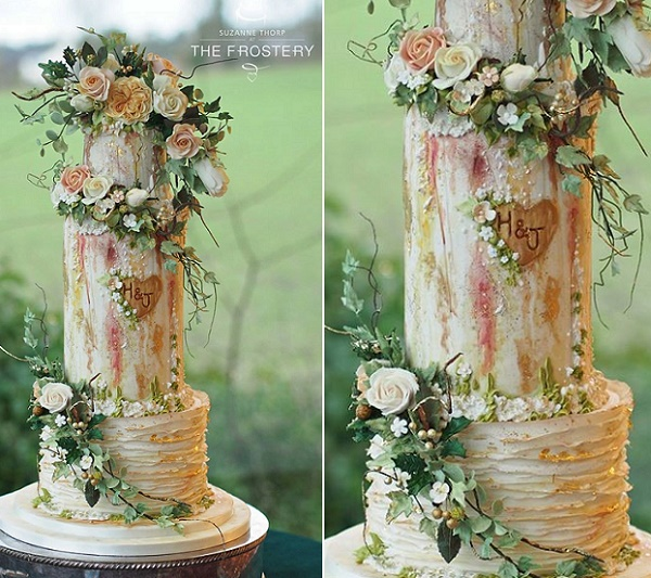 Trailing foliage watercolor wedding cake woodland style by The Frostery, Jeff Langhome Photography
