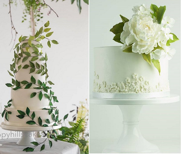 Trailing foliage wedding cake by Happy Hills Cakes, gumpaste greenery with peony by Lina Veber Cakes