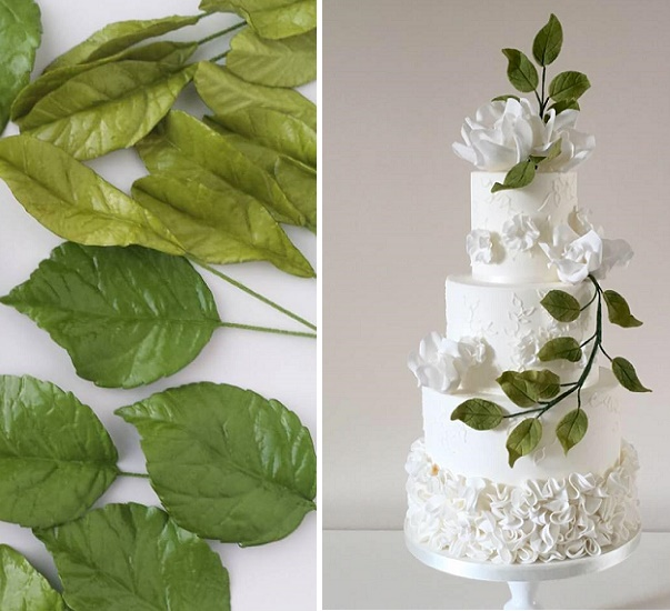 Gumpaste Flowers For Wedding Cakes: Foliage & Greenery Decorated Wedding Cakes: 2017 Wedding