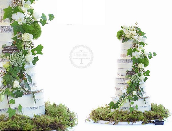 Woodland wedding cake with fresh foliage and moss by Sweet Love Cake Couture