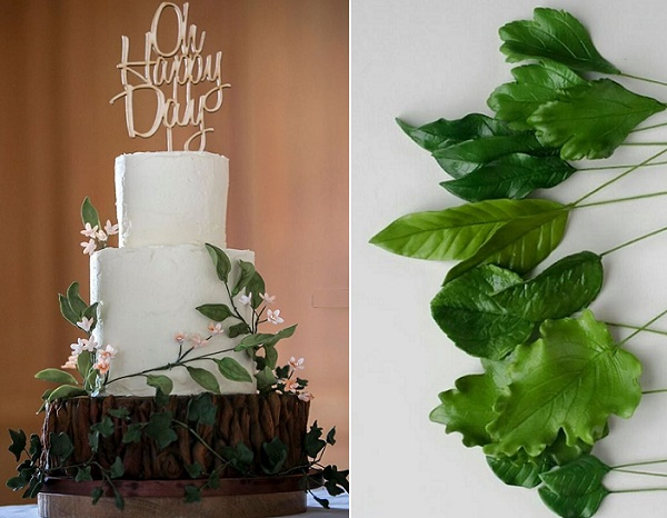 Woodland wedding cake with trailing greenery Happy Hills, Gillian McBain Phot left, PetalSweet right