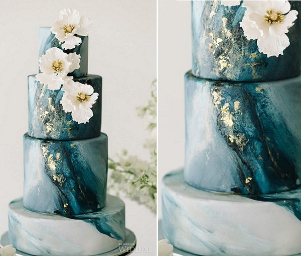 marble or agate wedding cake by Nadia & Co via Wed Luxe