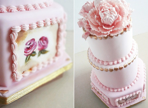 Antique style wedding cake in pink with scallop piping by Gourmelicious
