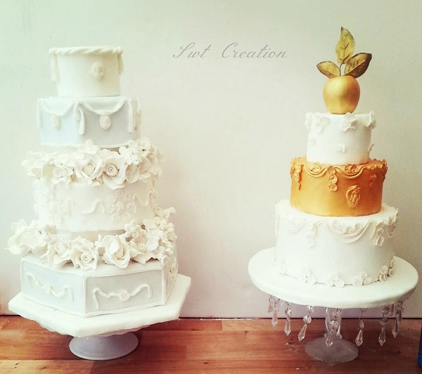 Antique wedding cakes with robed edging and scroll swag borders by Swt Creation