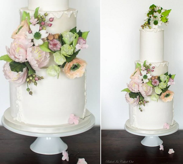 Bas relief trimmed wedding cake with garden sugar flowers by Baked In, Caked Out