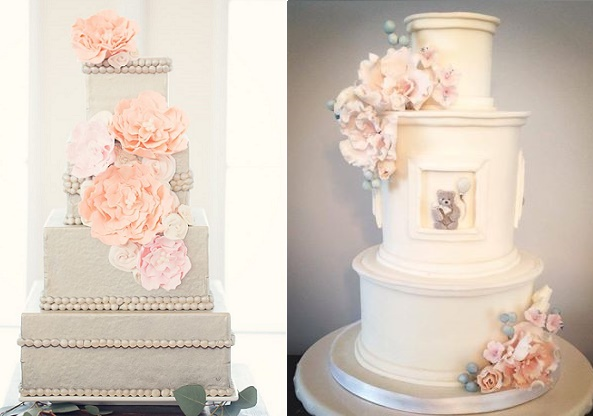 Beaded trim wedding cake by Amaru Confections, Two Bird Studio, cake right Sophie Bifield