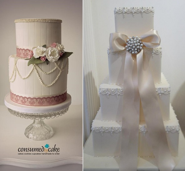 Beaded trim wedding cake by Consumed by Cake left, classical wedding cake right via Squires Kitchen