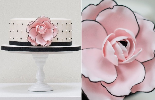 Black tipped rose cake design by Rosalind  Miller Cake Designs