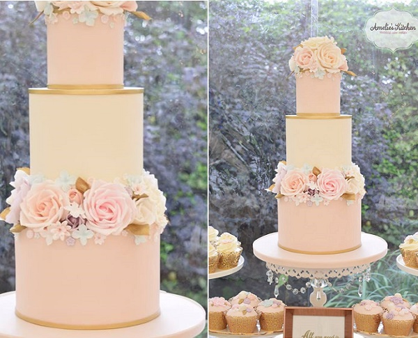 Blush pink wedding cake with gold trim and gumpaste flowers by Amelie's Kitchen