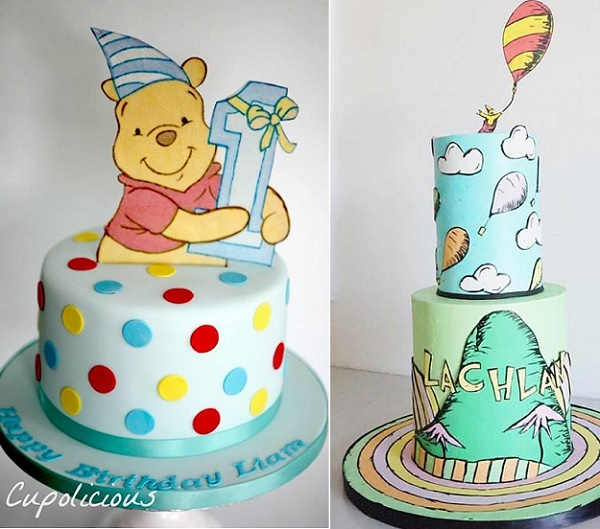 First birthday cakes with illustrated details by Cupolicious left, Jenna Rae Cakes right
