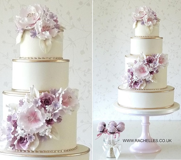Gold edging with lilac sugar flowers by Rachelle's Cake Designs