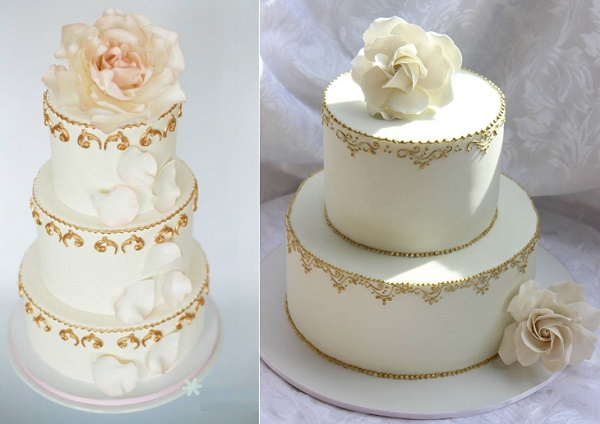 Gold scroll edging wedding cakes by Bloom Cake Design left, Short N Sweet Hawaii right