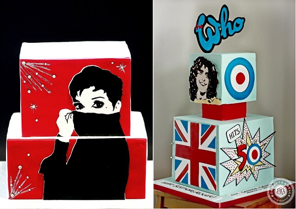 Graphic art and comic strip cake designs by Man Bakes Cake left, Bobbette and Belle right