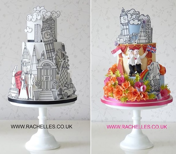 Graphic art illustrated wedding cake designs London theme by Rachelle's Cake Designs