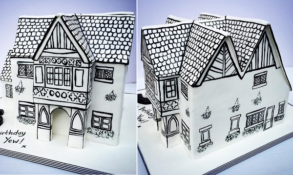 Illustrated 3D house shaped cake by Baked in Bunbury