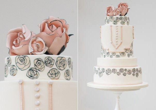 Illustrated floral wedding cake by Rosalind  Miller Cake Design